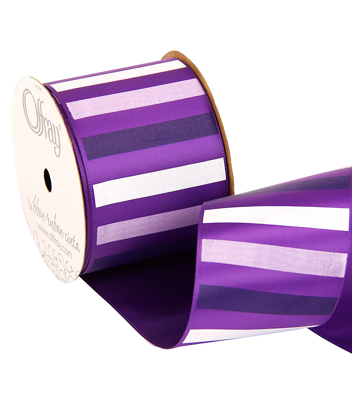 Offray 2.25\u0022 x 9\u0027 Stripe Ribbon-Purple/White