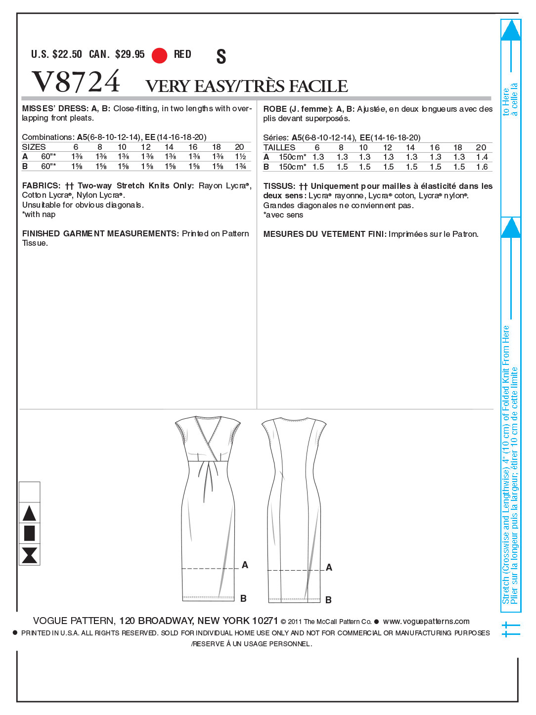 Vogue Patterns Misses Dress-V8724