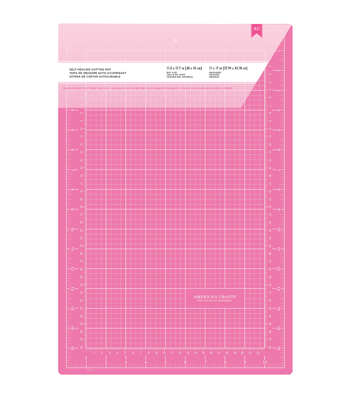 Pink Double-Sided Self-Healing Cutting Mat 11\u0022X17\u0022-