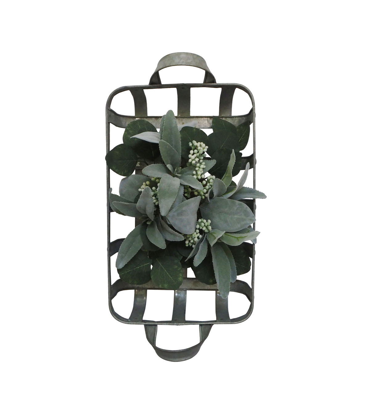 Fresh Picked Spring Farmhouse Leaf & Berry Arrangement in Metal Basket