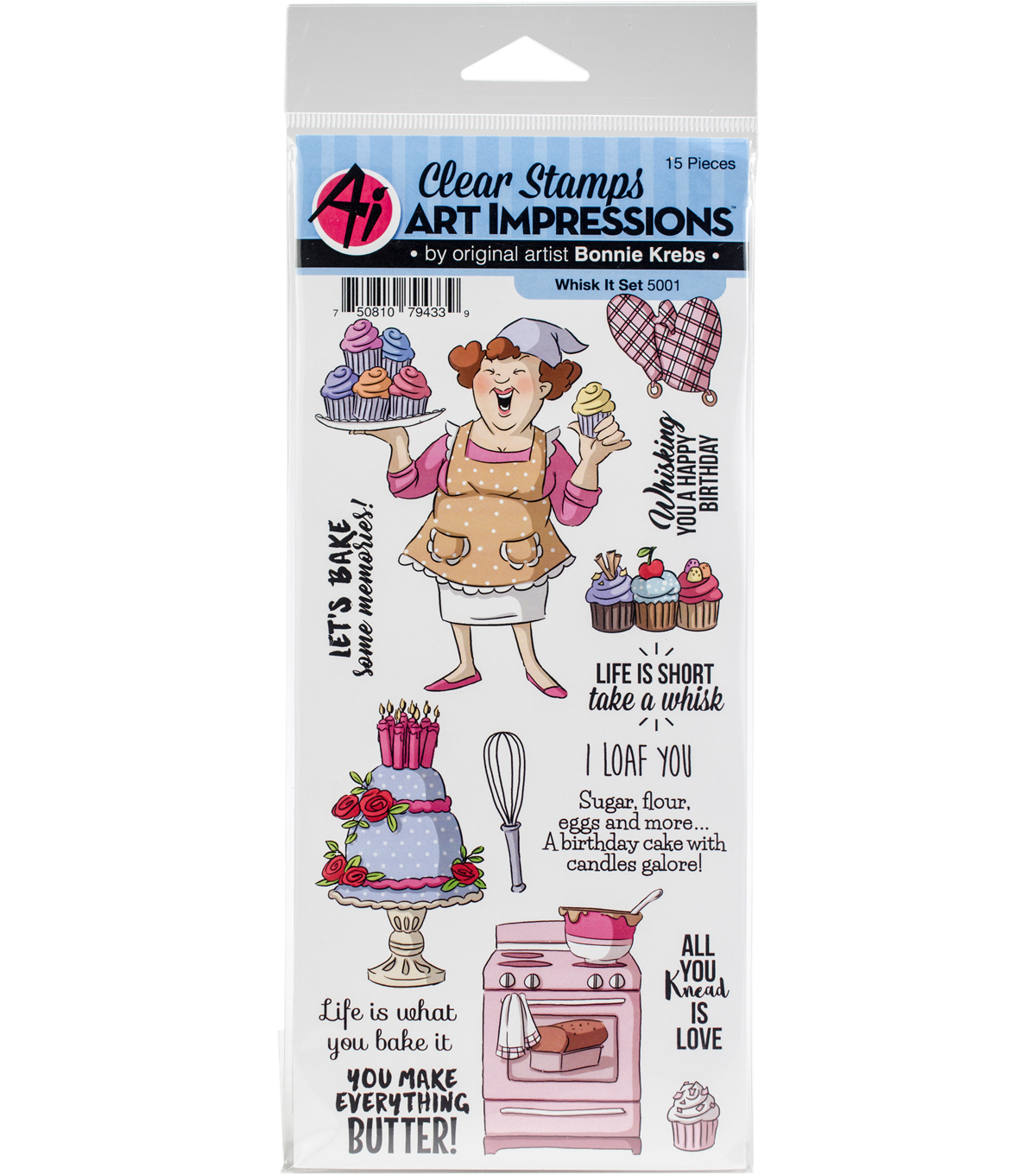 Art Impressions Bonnie Krebs Work & Play Clear Stamp-Whisk It Set