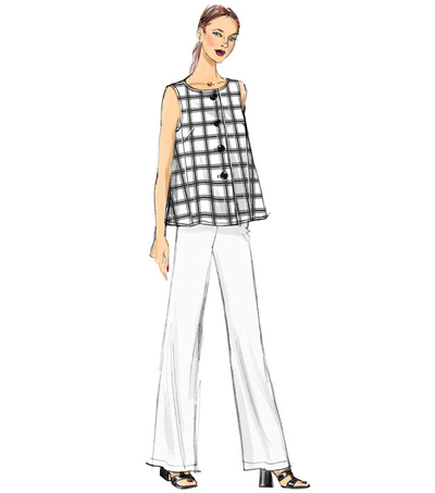 Vogue Pattern V9258 Misses\u0027 Sleeveless Tops with Pull-On Pants-Size 8-16