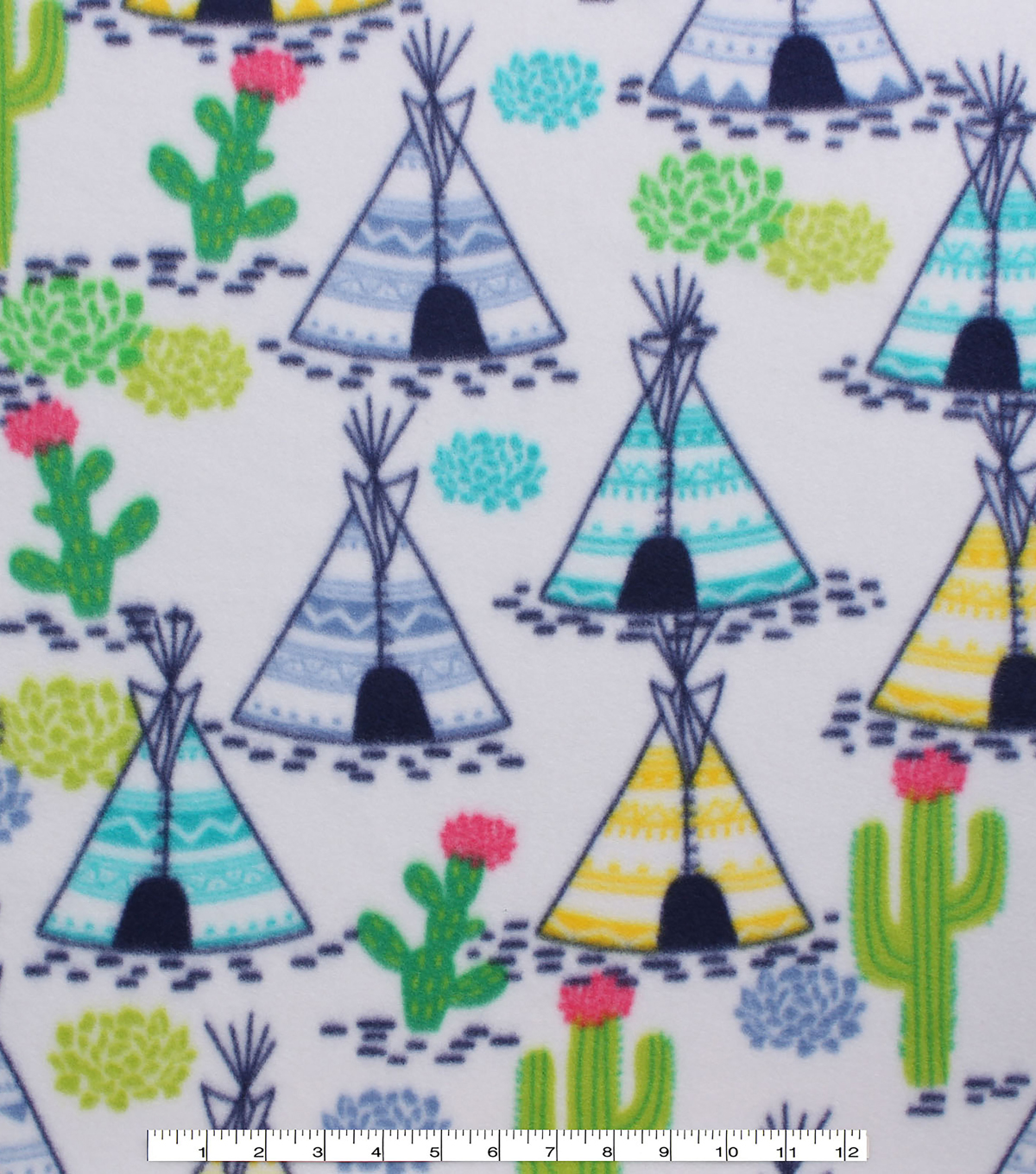 Blizzard Fleece Fabric -Teepee & Cactus