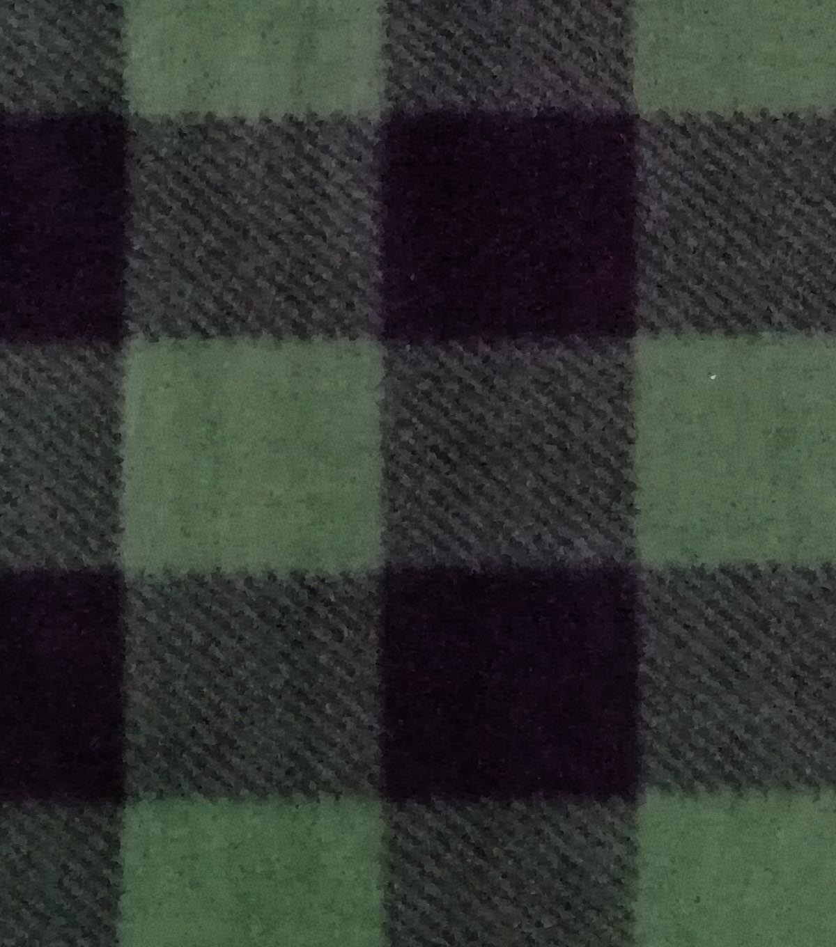 Anti-Pill Plush Fleece Fabric 58\u0022-Forest Black Buffalo Check