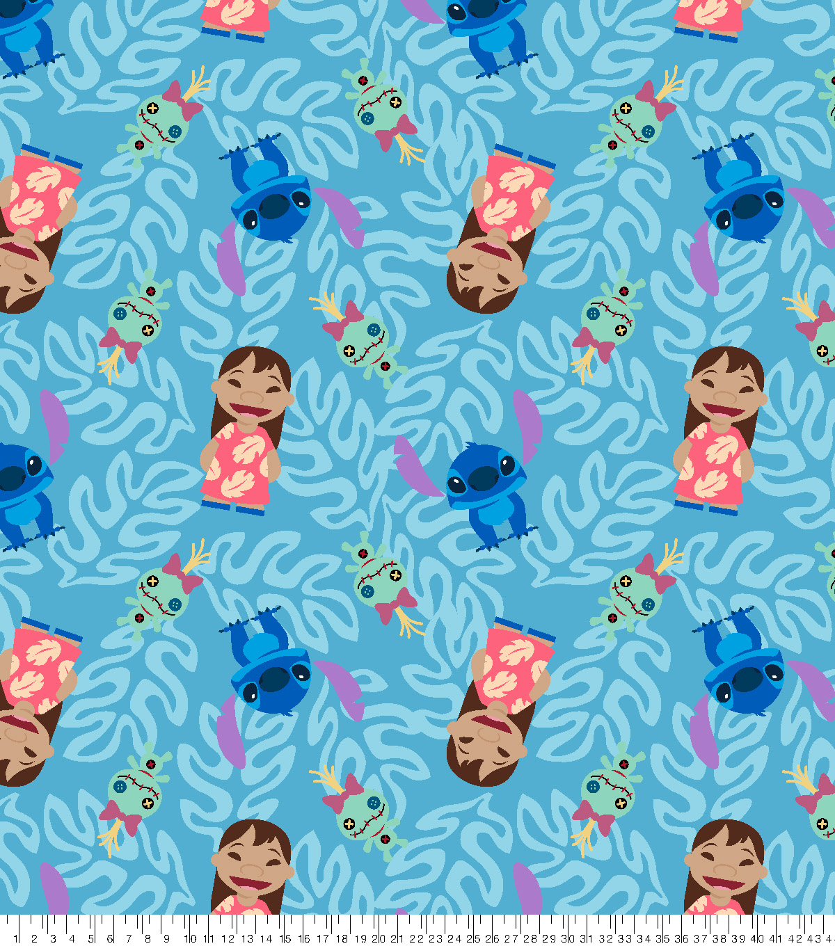 Disney Lilo and Stitch Fleece Fabric 59\u0022-Floral Toss