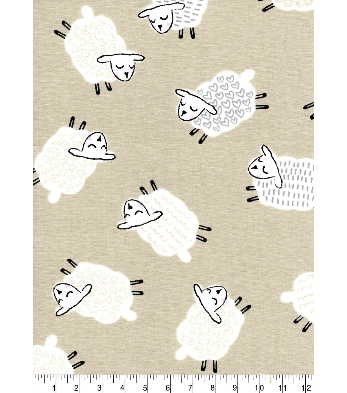 Nursery Cotton Fabric 43\u0022-Sheep Taupe