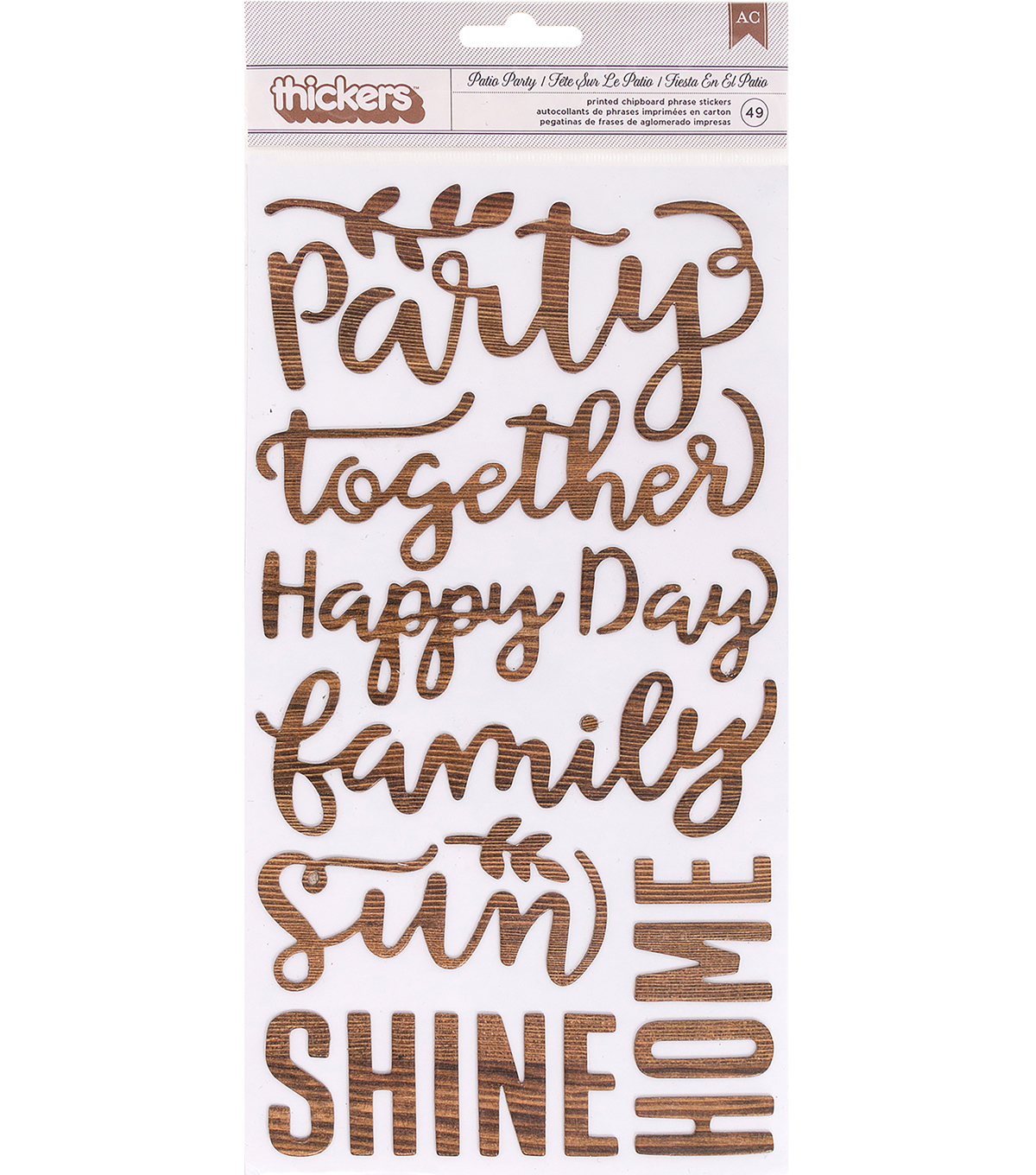 Pebbles Patio Party 49 pk Printed Chipboard Phrase Thickers Stickers