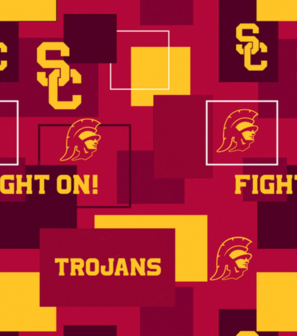 University of Southern California Trojans Cotton Fabric -New Block