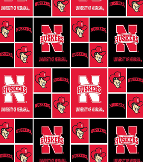 University of Nebraska Cornhuskers Cotton Fabric 43\u0027\u0027-Block