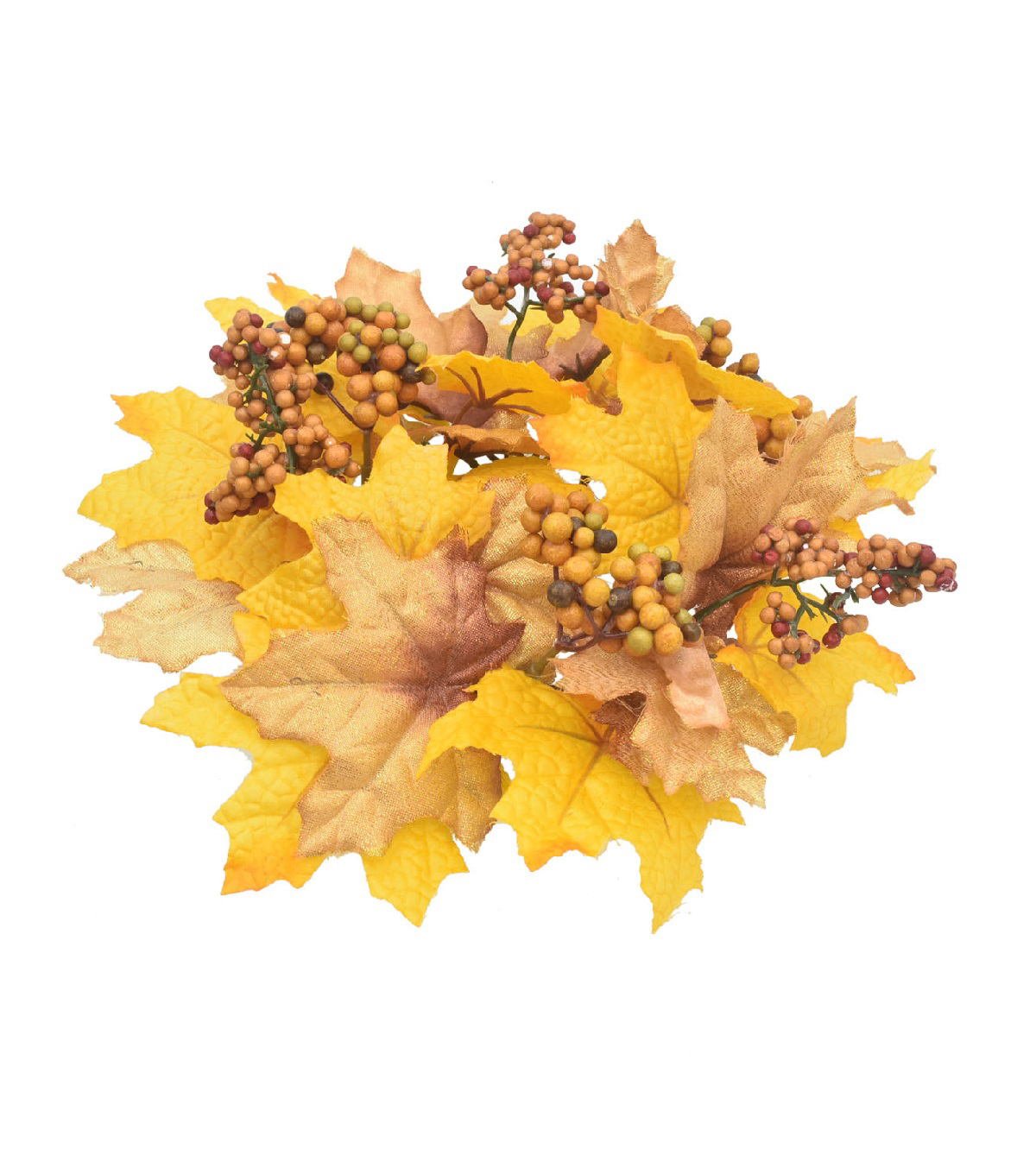 Blooming Autumn Maple Leaf & Berry Mini Wreath-Gold