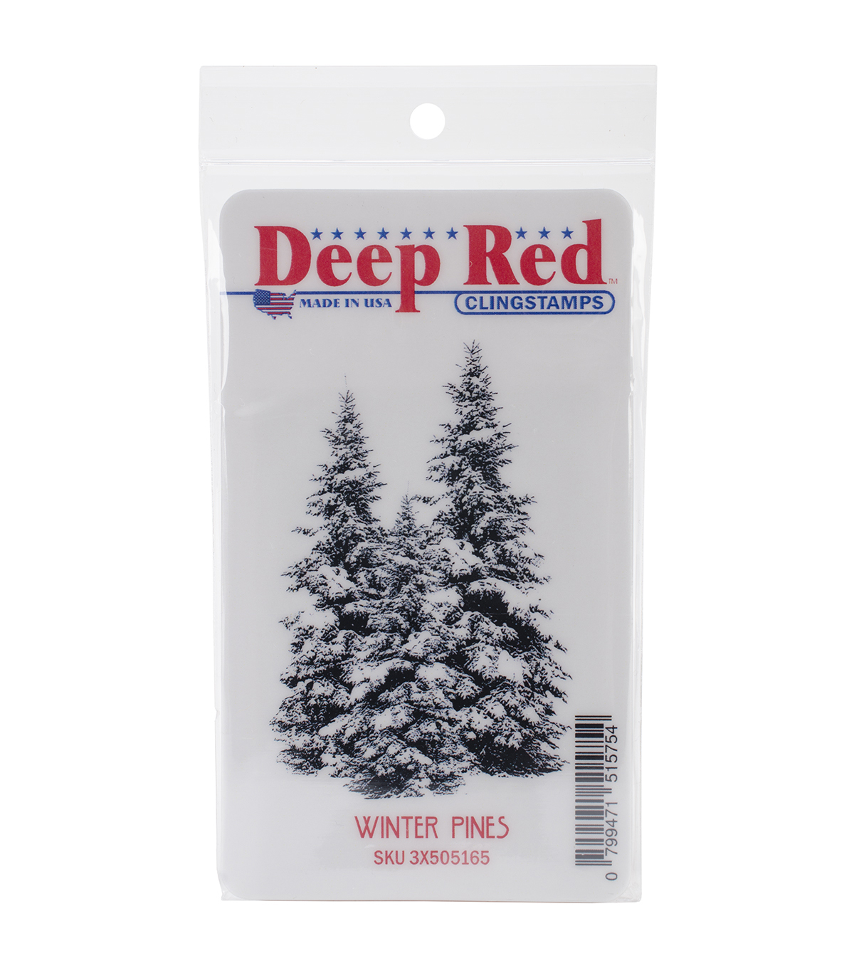 Deep Red Cling Stamp 2\u0022X3\u0022-Winter Pines