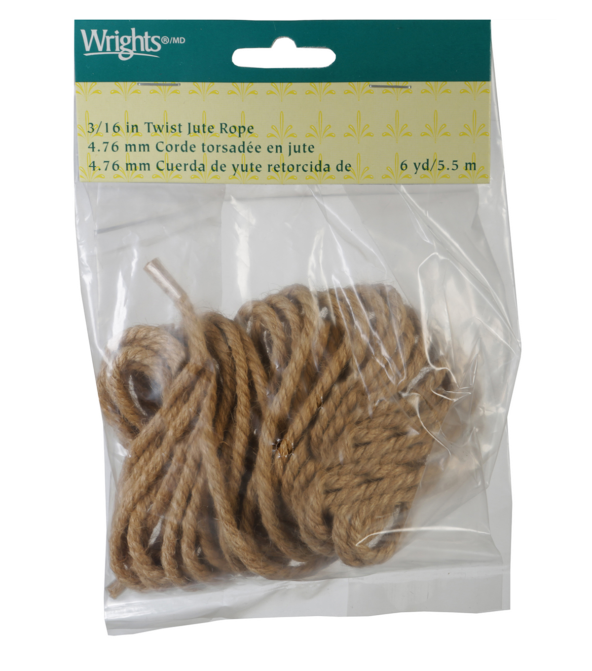 Wrights 3/16\u0022 Twist Jute Rope 6 Yds-Natural