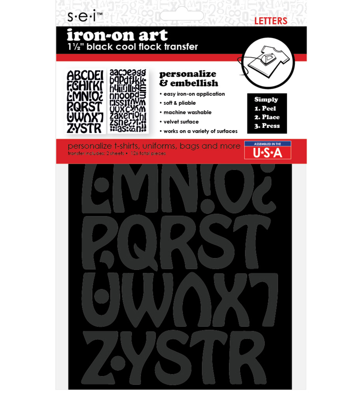 Iron-On Art Flocked Transfer Letters-Cool Black