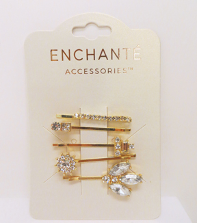Gold Bobby Pins-Crystal Accent