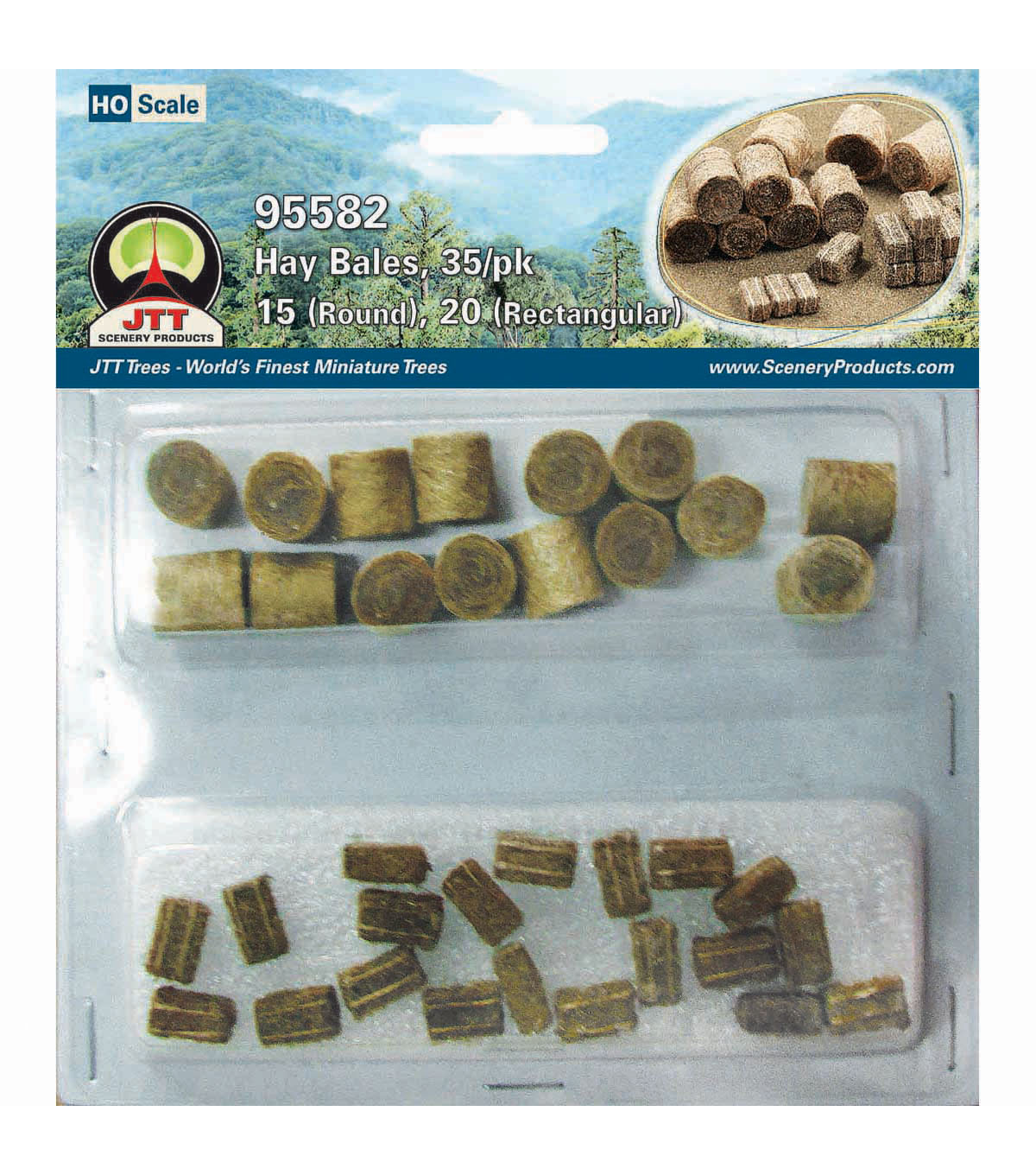 JTT Scenery Products Hay Bale Mix 35/Pkg-15 Round & 20 Rectangular