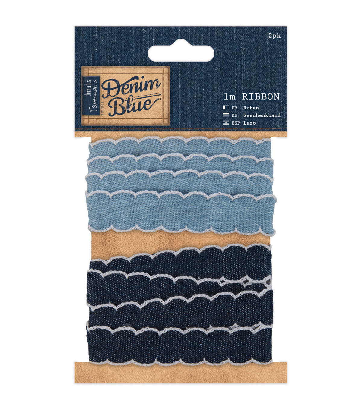 Papermania Denim Blue Ribbon 0.75\u0027\u0027x1yds-Denim