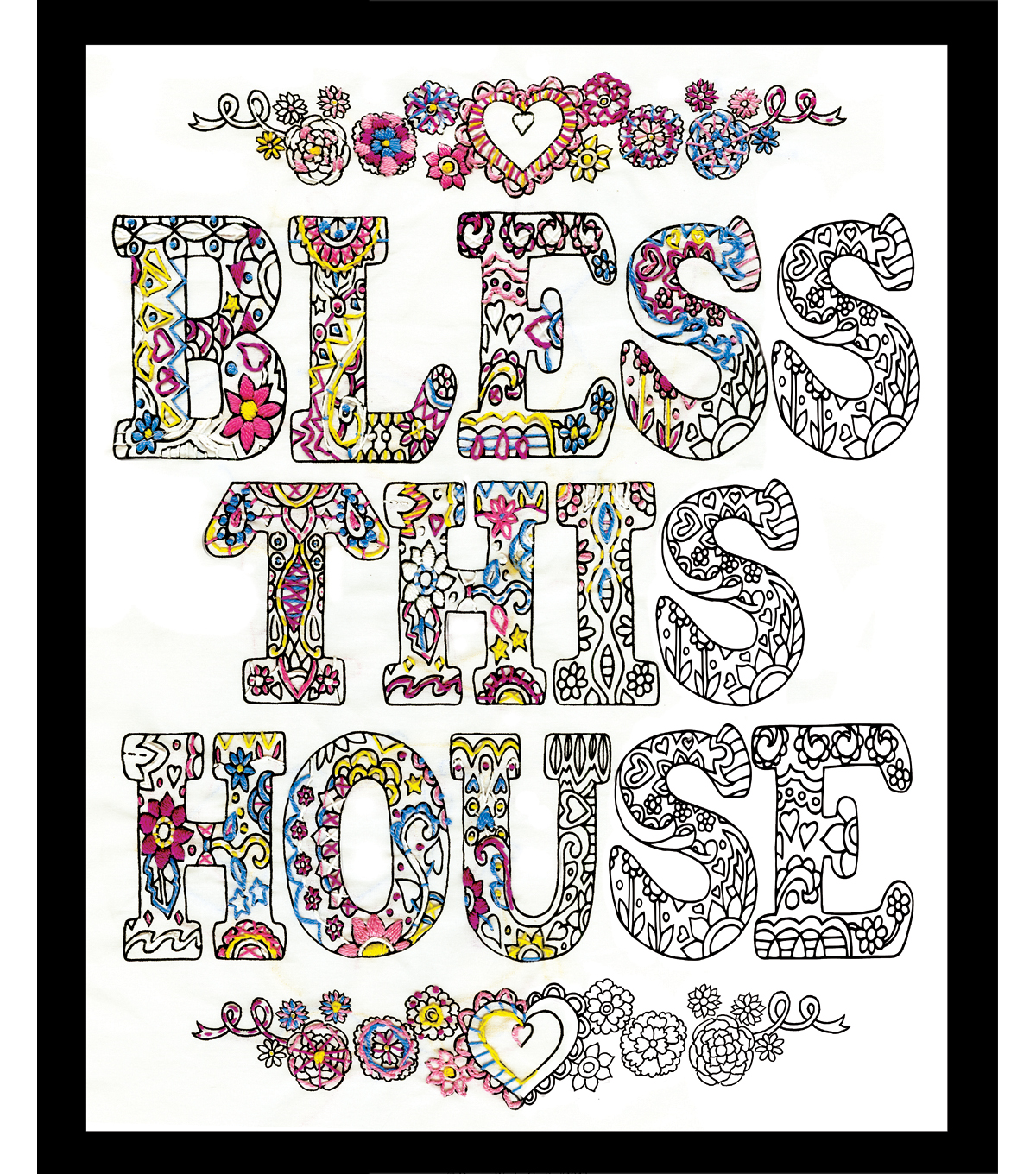 Design Works Zenbroidery Stamped Picture Kit Bless This House