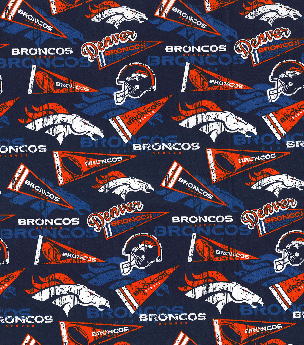 Denver Broncos Cotton Fabric-Retro