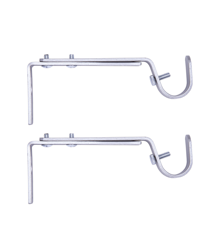 Kenney Adjustable Curtain Rod Bracket Pair Satin Nickel