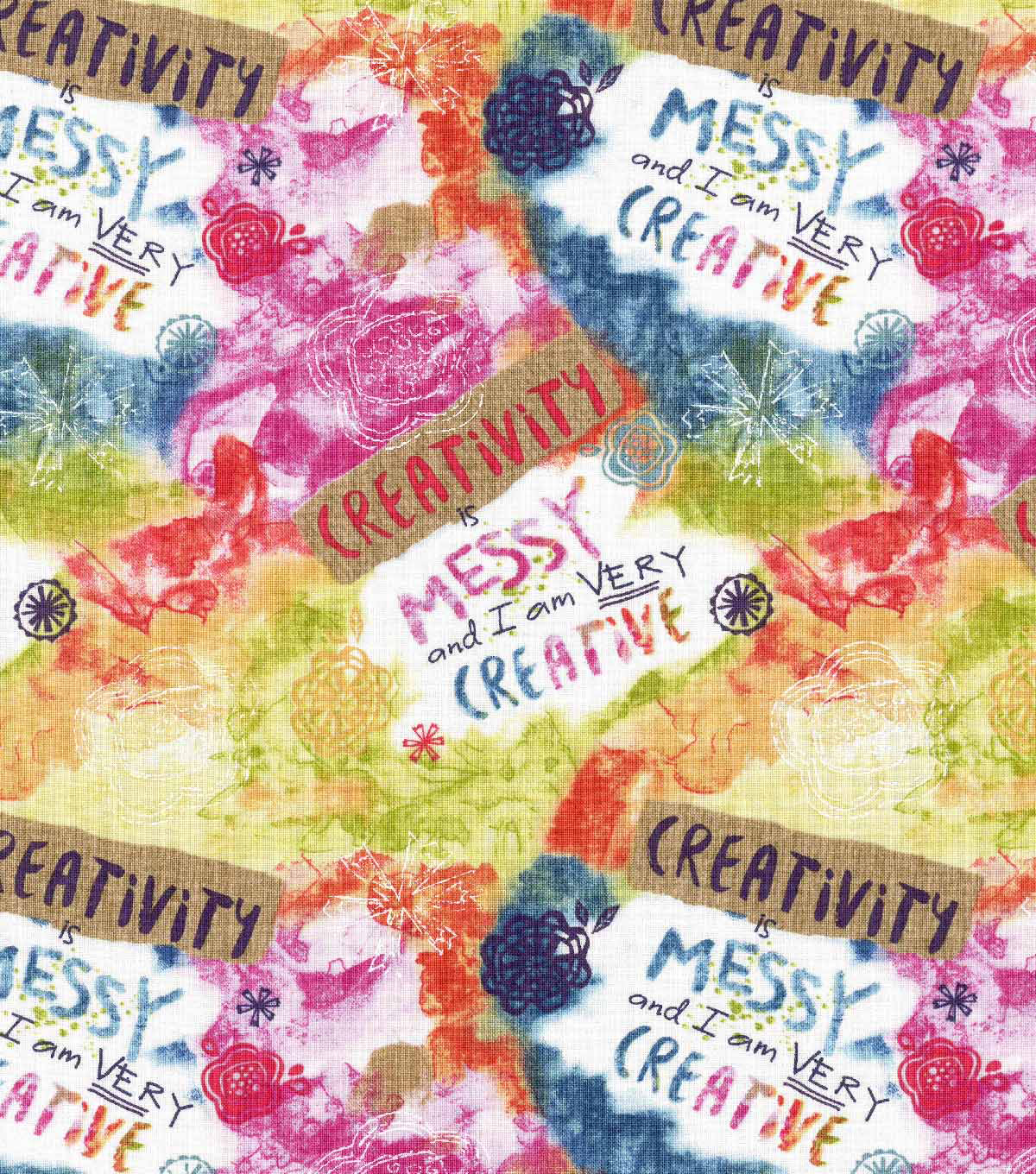 Novelty Cotton Fabric- Creativity Is Messy
