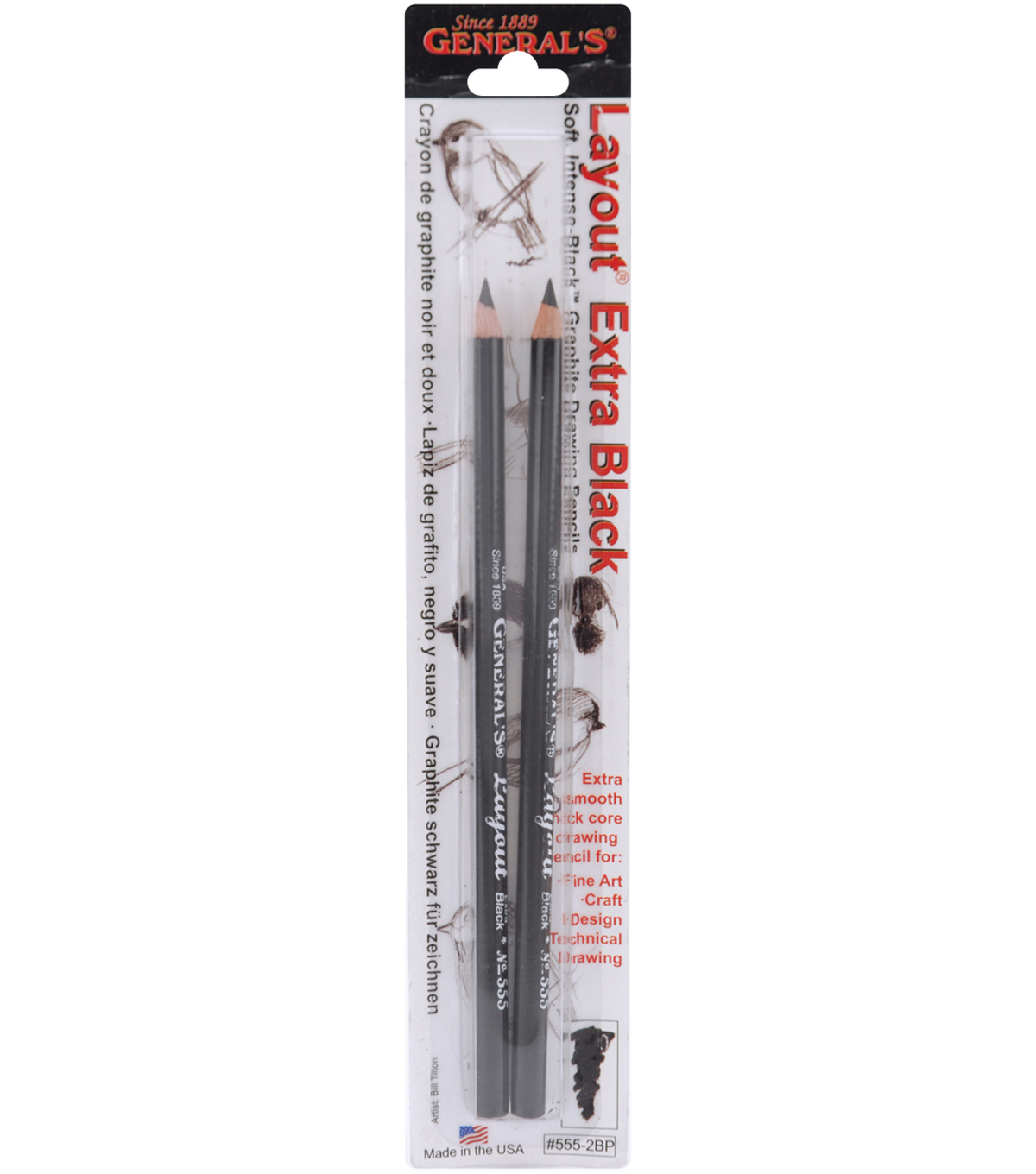 Layout Graphite Drawing Pencils 2Pk-2B