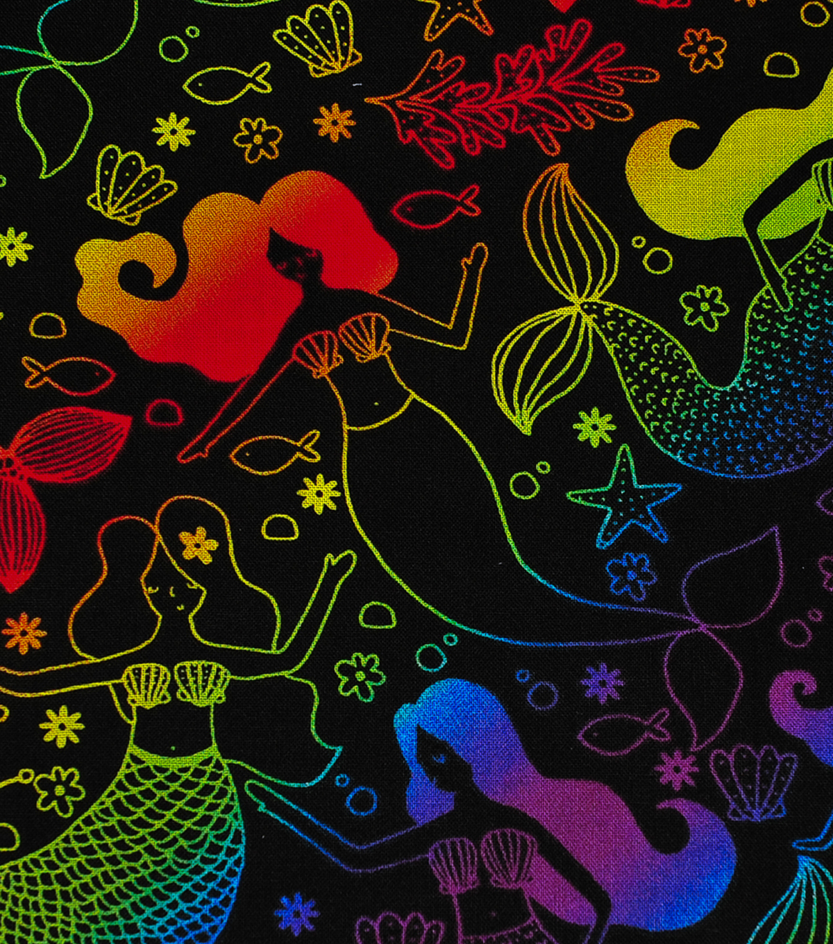 Novelty Cotton Fabric-Rainbow Mermaids on Black