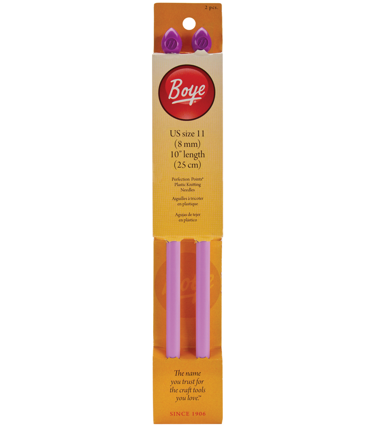 Single Point Plastic Knitting Needles 10\u0022-Size 11