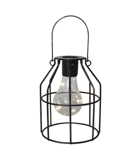 In the Garden Rectangle Shaped Hanging Solar Lantern-Bronze