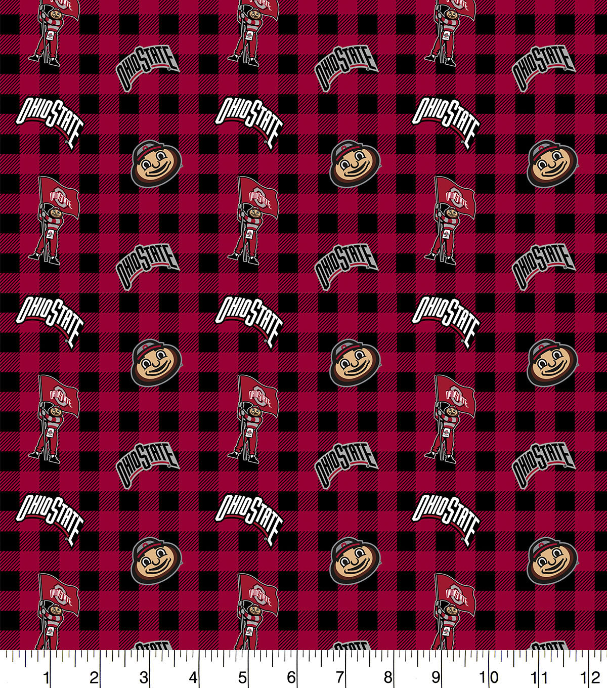 Ohio State Buckeys Flannel Fabric-Check