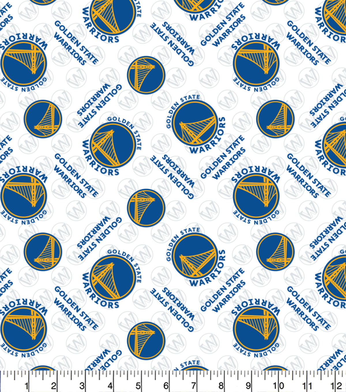 Golden State Warriors Cotton Fabric Tossed Logo Joann