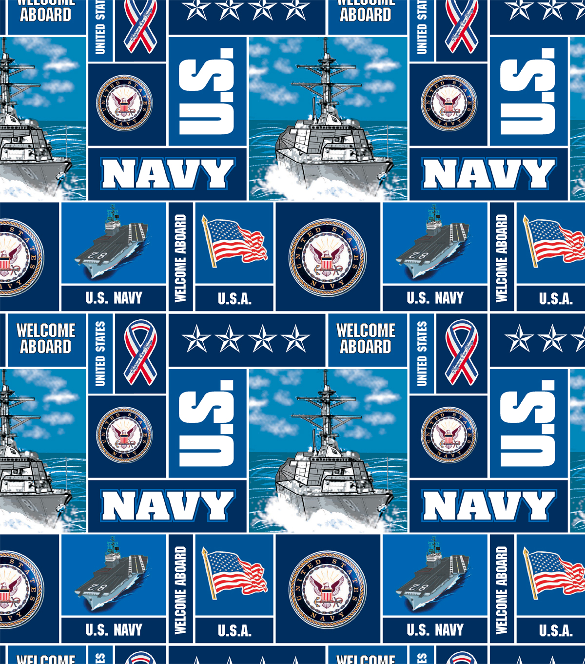United States Navy Fleece Fabric -Allover
