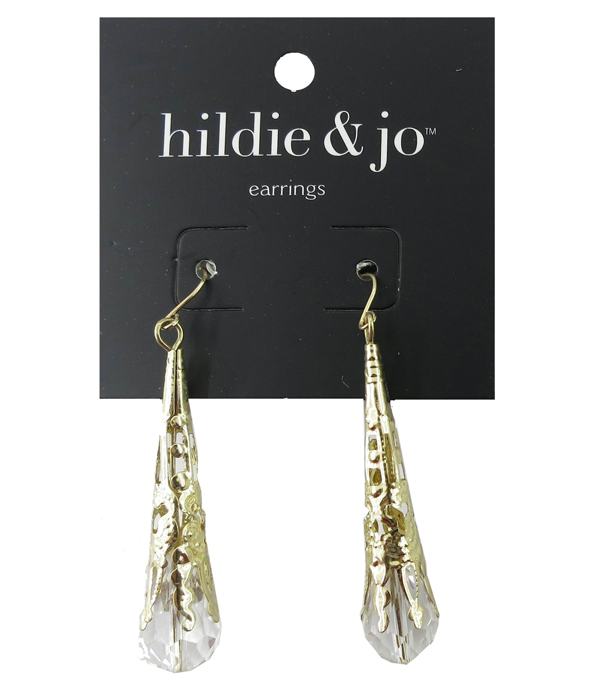 hildie & jo 2\u0027\u0027x0.38\u0027\u0027 Gold Earrings-Oblong Rhinestone Drop