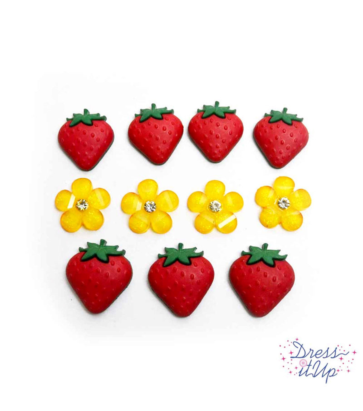 Jesse James Dress It Up Button Embellishments-Fresh Strawberries