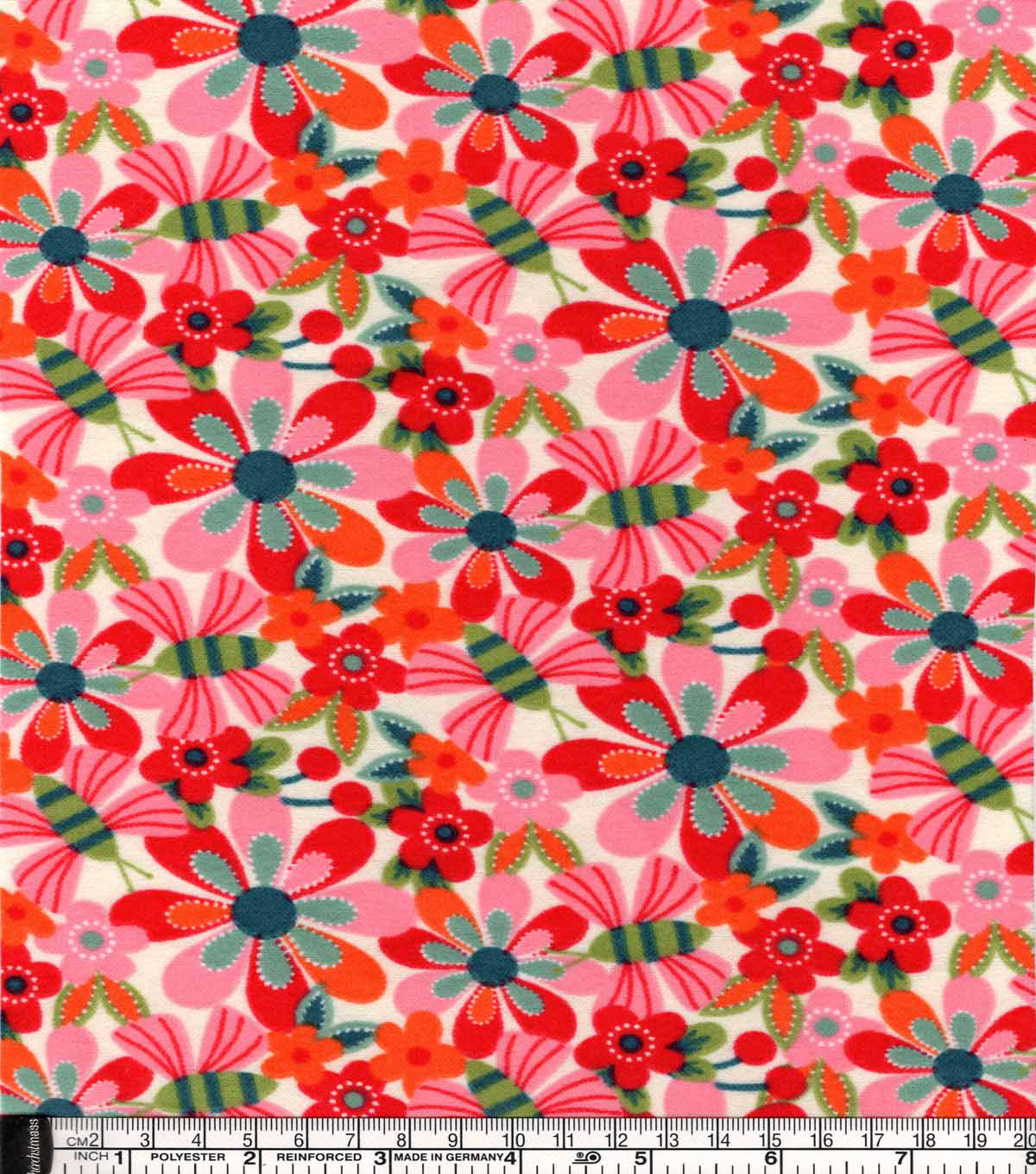 Snuggle Flannel Fabric -Bright Butterflies And Floral