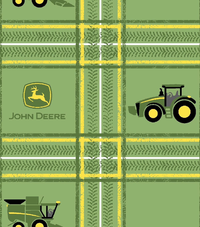 John Deere Cotton Fabric 43 Green Tractor Plaid Joann