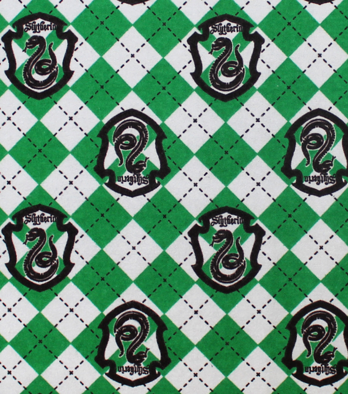 Harry Potter Flannel Fabric-Slytherin on Argyle