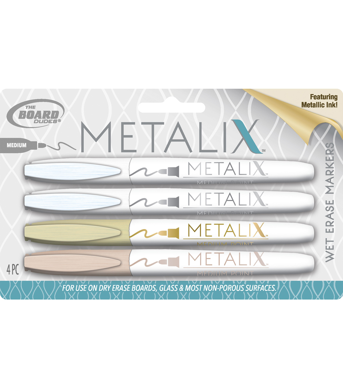 The Board Dudes Metalix 4 pk Medium Tip Wet Erase Marker-Metallic