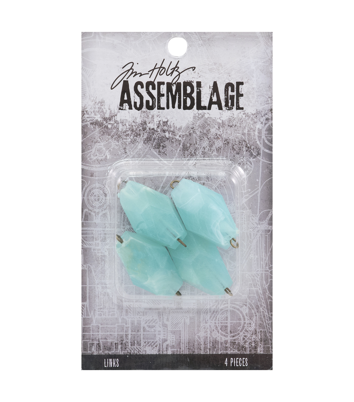 Tim Holtz Assemblage 4 Pack 1\u0027\u0027 Acrylic Links-Seaglass