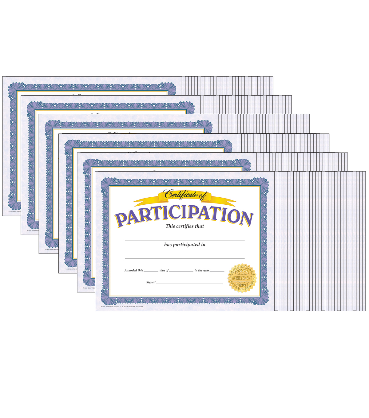 Certificate of Participation Classic Certificates, 30 Per Pack, 6 Packs