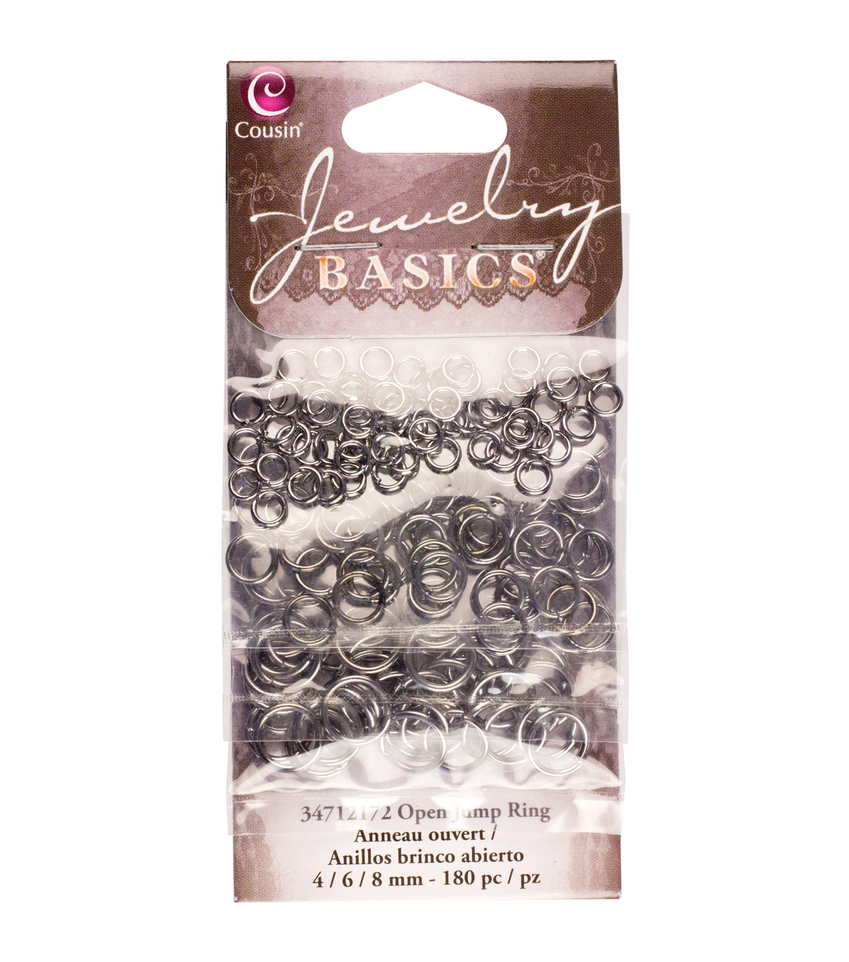 Jewelry Basics Metal Findings-Gunmetal 4/6/8mm Jump Rings 180/Pkg