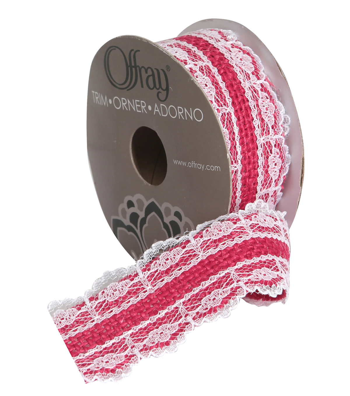 Burlap W Lace 1 And Half In Pink Adhs R Ribbon | JOANN