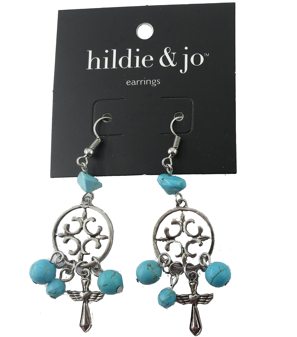 hildie & jo Open Circle with Cross Silver Earrings-Turquoise Bead