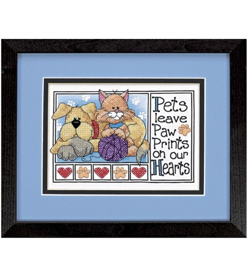 Dimensions Stamped Cross Stitch Kit Paw Prints Mini