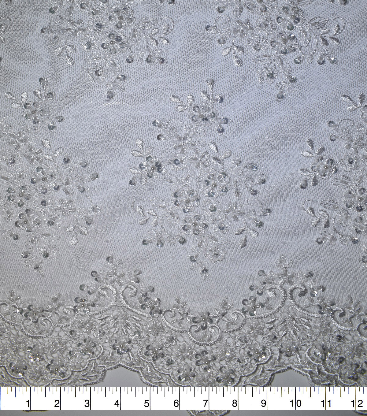 Gianna Embroidered Sequins Clusters on Mesh Fabric 52\u0027\u0027-White Floral
