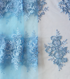 Casa Embellish Gardinia Corded Sequin Fabric 49\u0027\u0027-Icy Blue