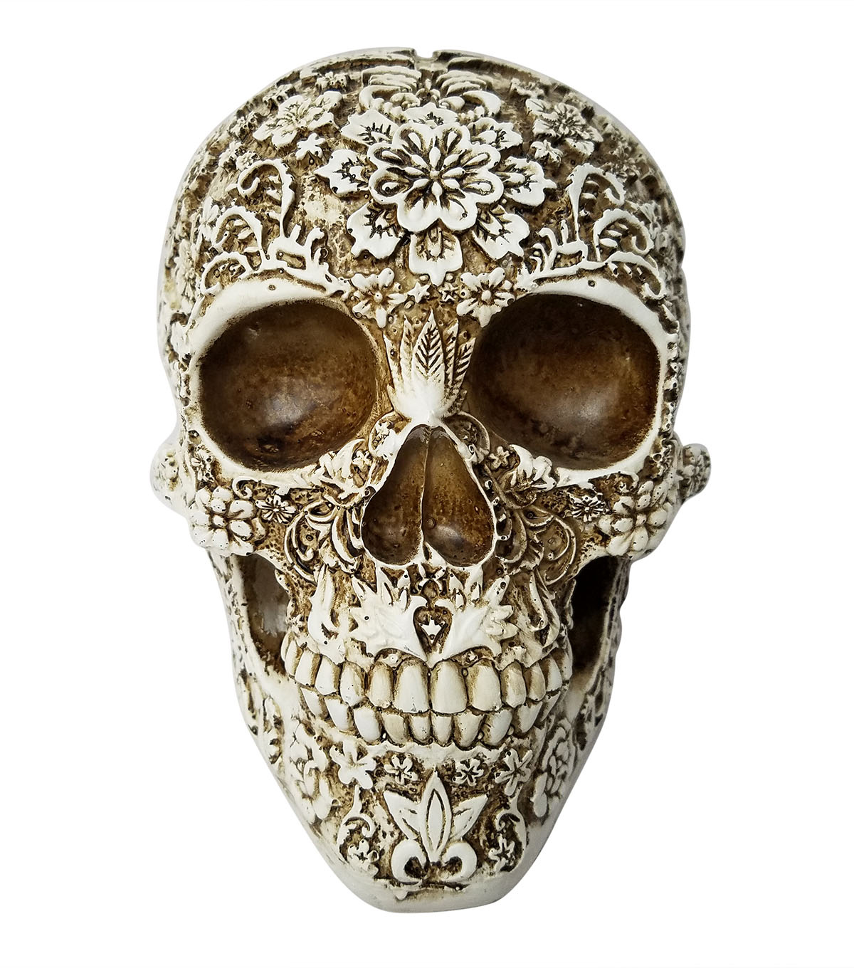 Maker\u0027s Halloween Floral Skull Table Decor-Natural