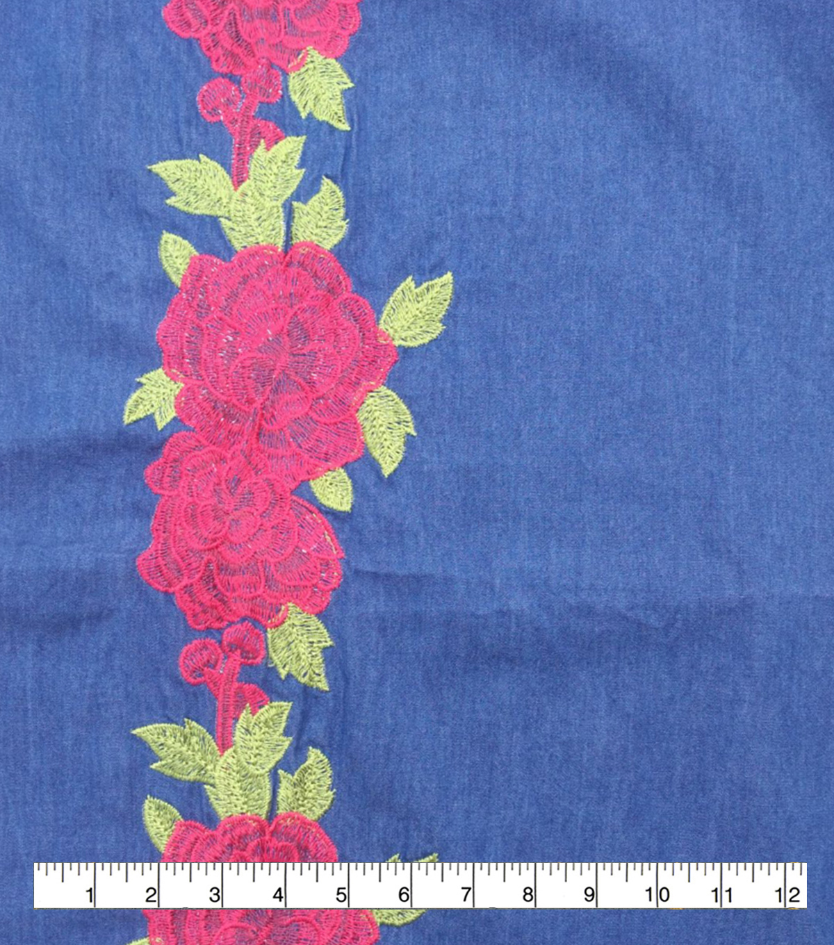 Sportswear Denim Fabric-Red Embroidered Floral