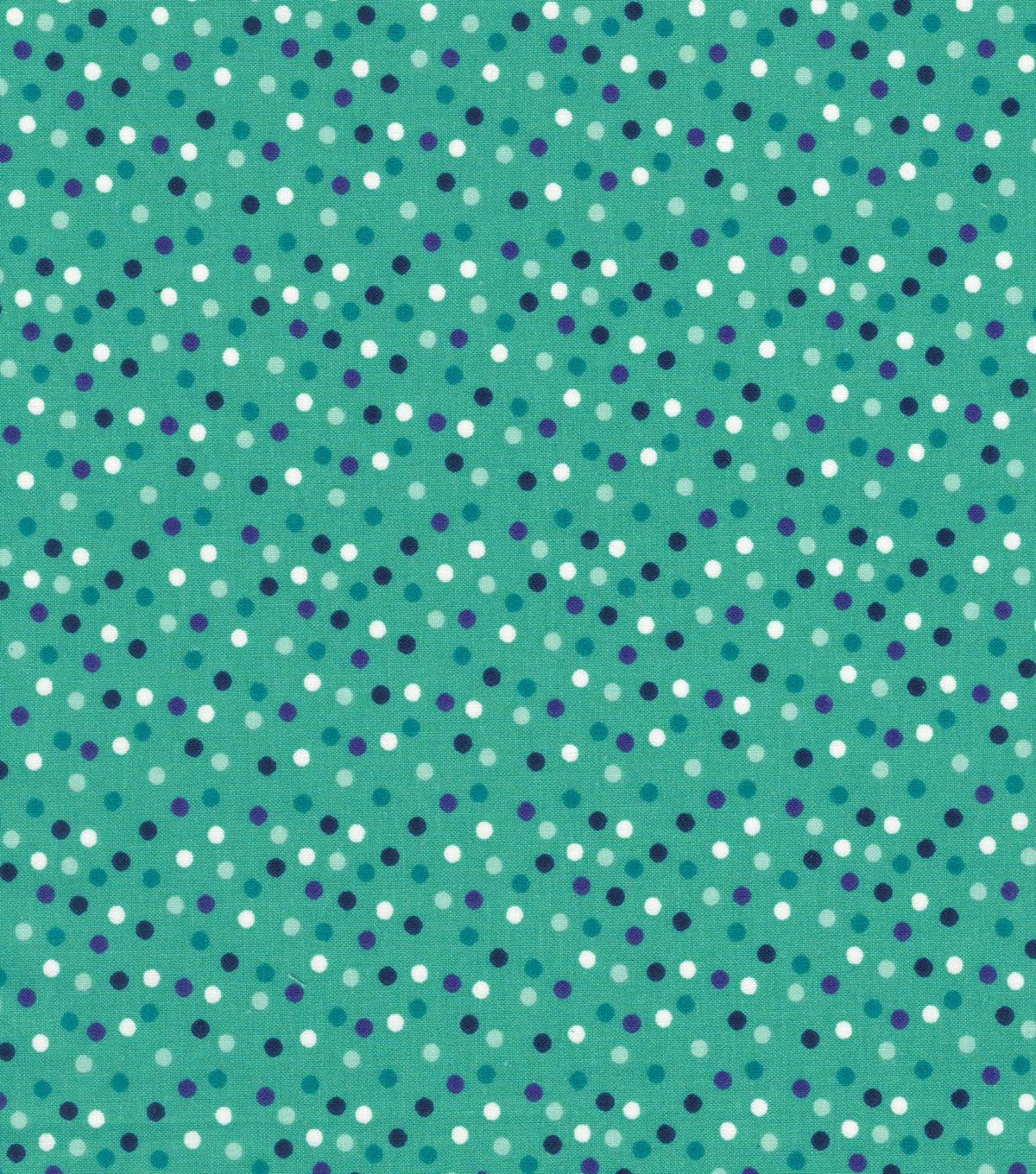Quilter\u0027s Showcase Cotton Fabric 44\u0027\u0027-Scattered Dots on Teal