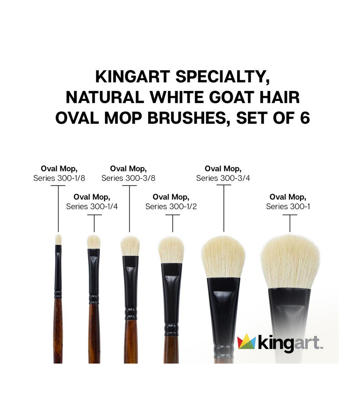 KINGART Natural White Goat Hair Mops 6/Pkg