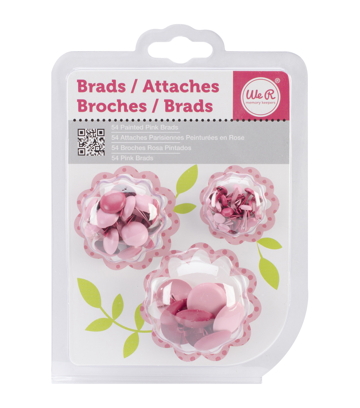 Painted Brads 54/Pkg-Pink